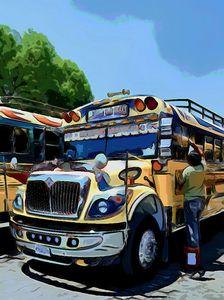 Driver Washing Yellow Bus