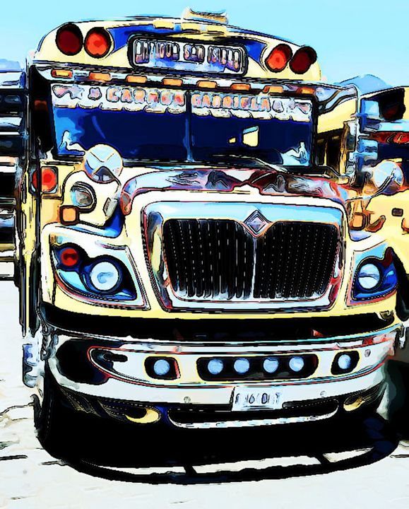 Creamy Yellow Bus - Dan Radin Guatemalan Digital Photography Art