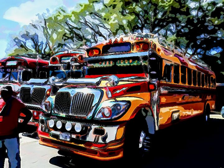 Man in front of Yellow and Red Bus - Dan Radin Guatemalan Digital Photography Art
