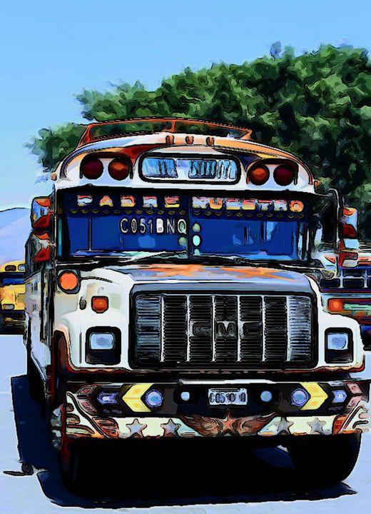Bus with orange highlights - Dan Radin Guatemalan Digital Photography Art