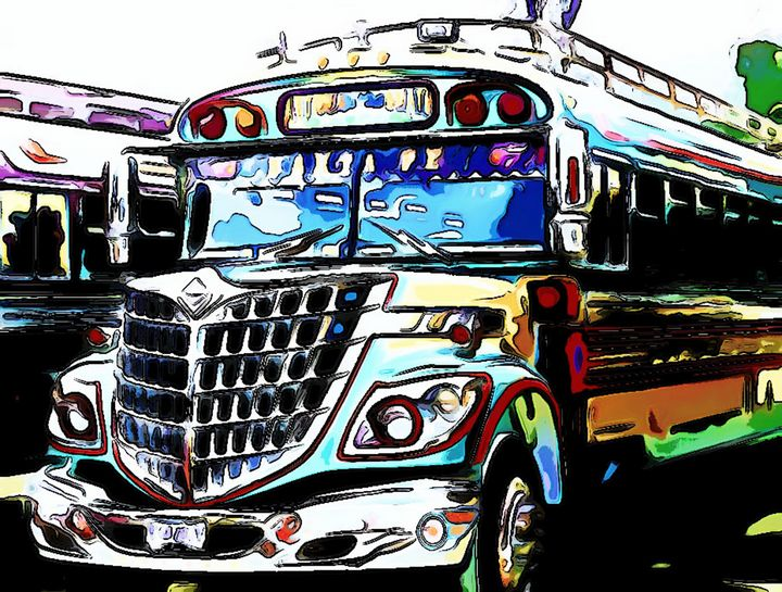 blue and purple buses - Dan Radin Guatemalan Digital Photography Art