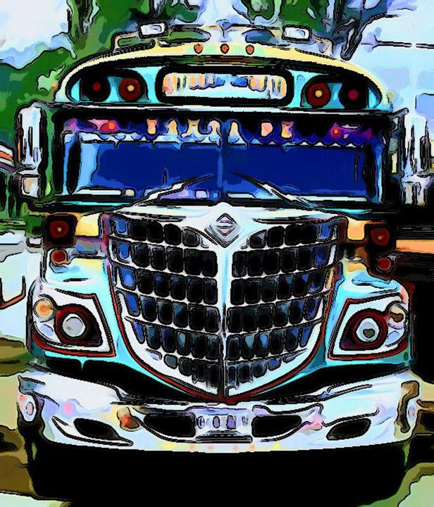 Turquoise Front View Bus - Dan Radin Guatemalan Digital Photography Art