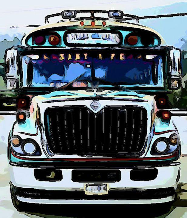 Turquoise Green Bus Front View - Dan Radin Guatemalan Digital Photography Art