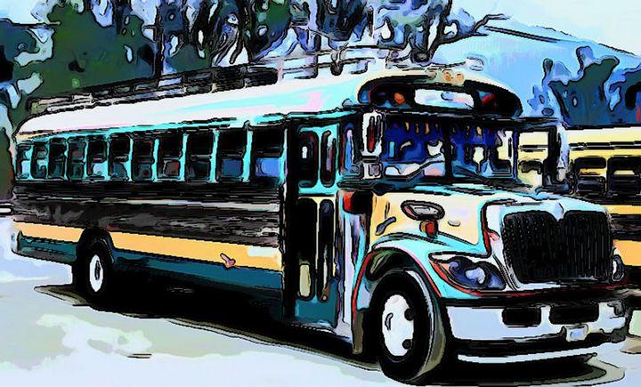 turquoise green bus - Dan Radin Guatemalan Digital Photography Art