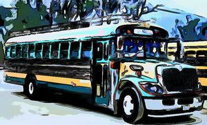 turquoise green bus