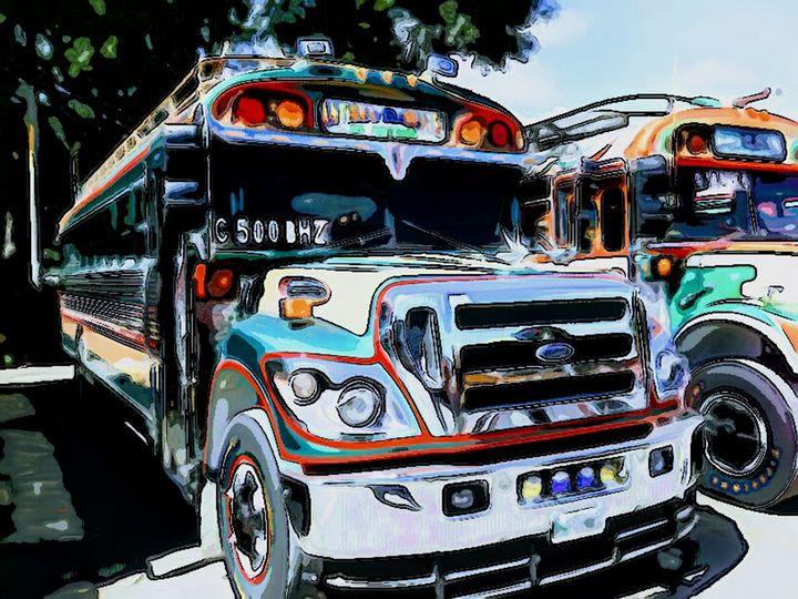 Buses with Turquois - Dan Radin Guatemalan Digital Photography Art