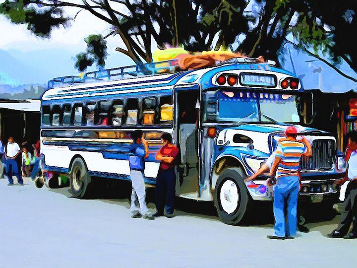 People aroun Blue Bus - Dan Radin Guatemalan Digital Photography Art