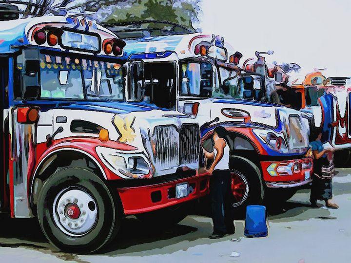 Driver Washing Red, White, and Blue - Dan Radin Guatemalan Digital Photography Art