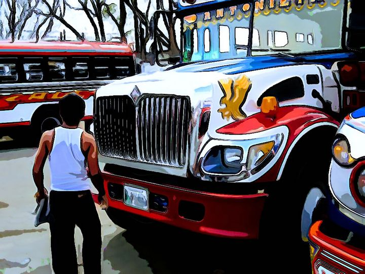 Driver in front of Red, White, Blue - Dan Radin Guatemalan Digital Photography Art