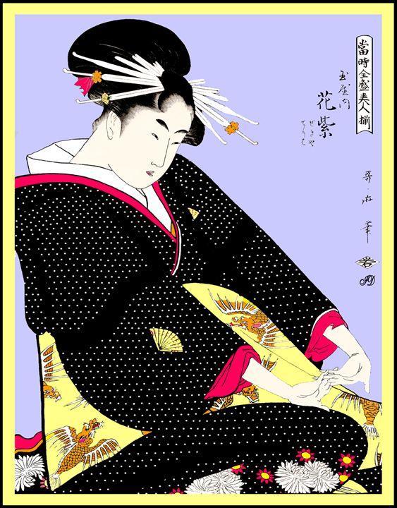 THE COURTESAN HANAMURASAKI OF TAMAYA - VintageWoodBlockPrints