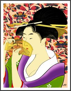 GEISHA WITH A COMB