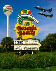 Pensacola Beach Sign Collage