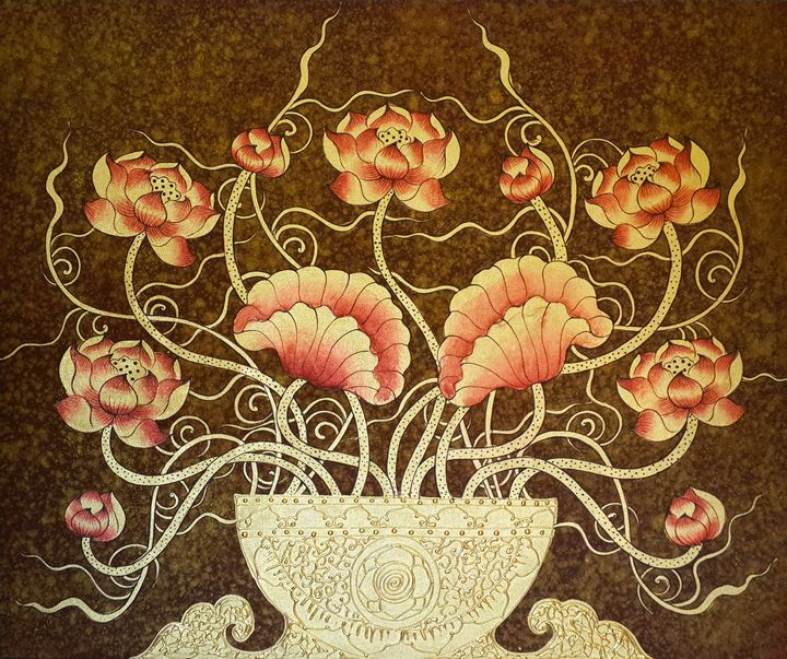 Exclusive Thai Golden Lotus Painting - Royal Thai Art