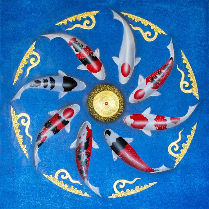 Asian Thai Koi Fish Painting - Royal Thai Art