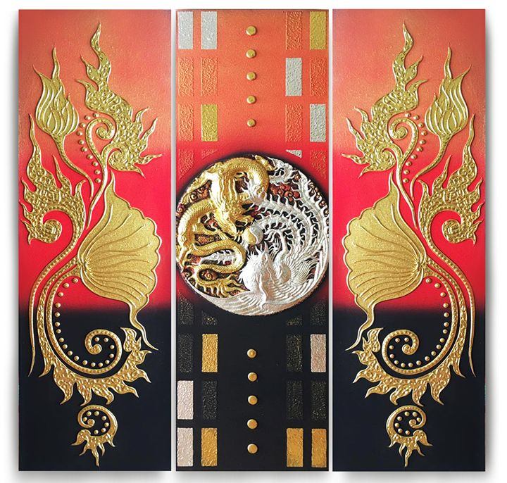 Golden and Silver Dragons Painting - Royal Thai Art