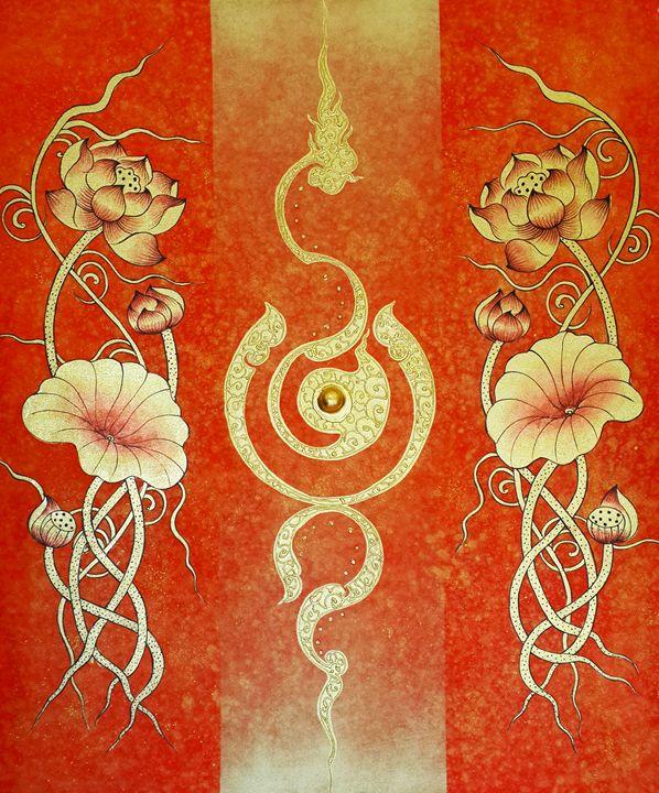 Thai Golden Lotus Flower Painting - Royal Thai Art