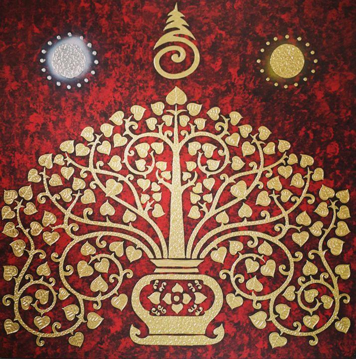 Bodhi Tree Red Background Painting - Royal Thai Art
