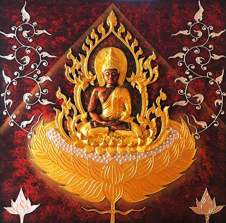 3D Golden Thai Buddha Painting - Royal Thai Art