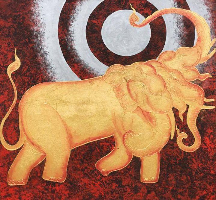 Thai Elephant and Moon Painting - Royal Thai Art