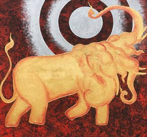 Thai Elephant and Moon Painting