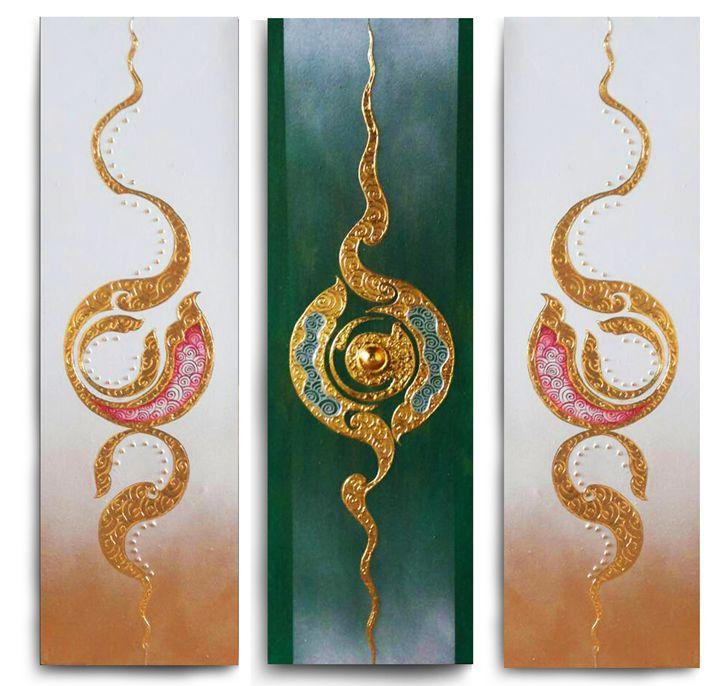 Traditional Thai Art Painting Green - Royal Thai Art