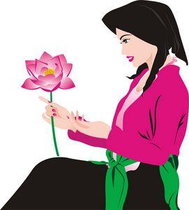 Women and lotus in VietNam
