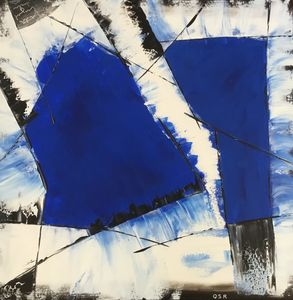 2 taches bleues cobalt