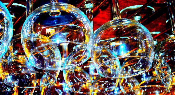 Hanging bar glasses. - oscarcwilliams