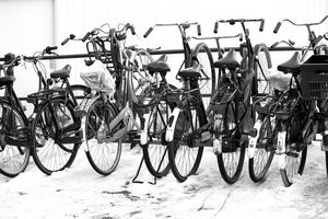 Bikes in winter snow.