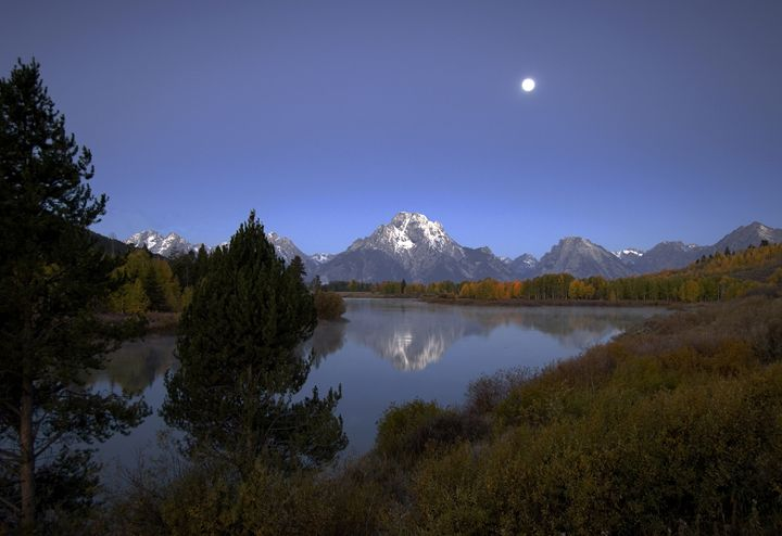 Moon over Oxbow Bend - The Grand Tet - Photography By Gordon Ripley