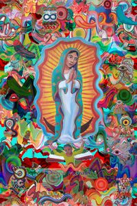 Virgin of Guadalupe and graffitis