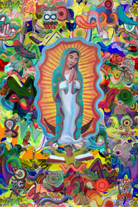 Virgin of Guadalupe and graffitis - Diego Manuel Rodriguez