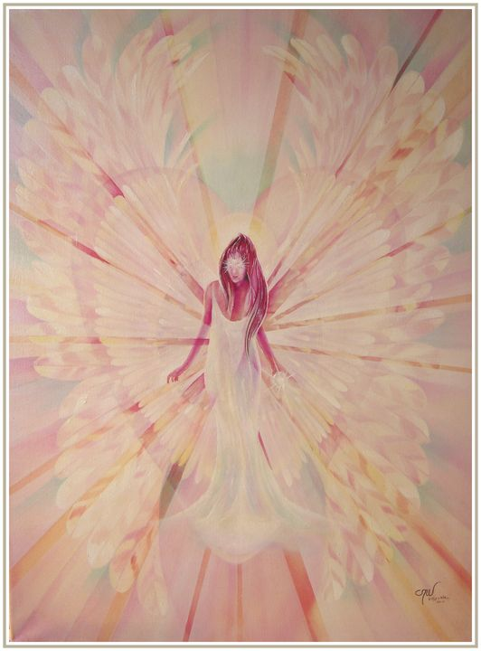 Light Angel (Oil, Acrylic, Gouache) - Marialucia