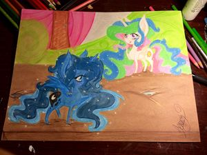 Chibi Alicorn Luna and Celestia