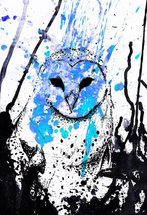 Watcher - Blue - Lion Abstract