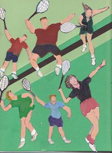 TENNIS PEOPLE ON COURT - ART CREATIONS BY OLGA