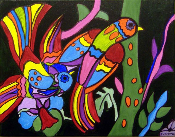 "Mexican Folk Art- 2 Tropical Birds"" - A.V.Apostle Fine Art"