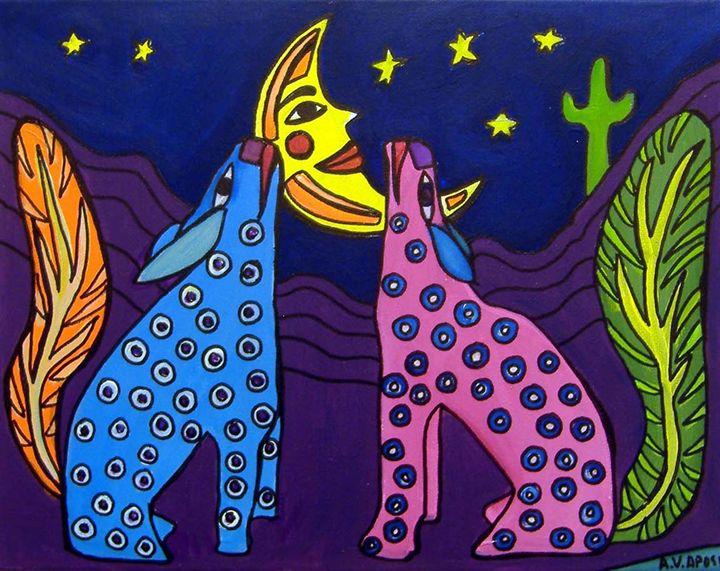 Mexican Folk Art-2 Coyotes - A.V.Apostle Fine Art