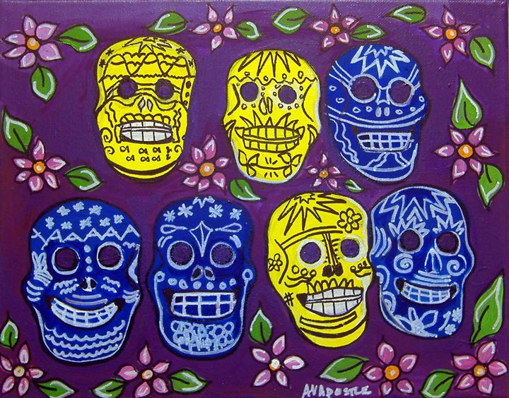 Sugar Skulls - Day of the Dead - A.V.Apostle Fine Art