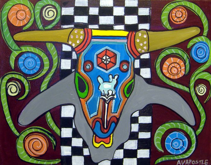 Mexican Folk Art- Bull Horns - A.V.Apostle Fine Art