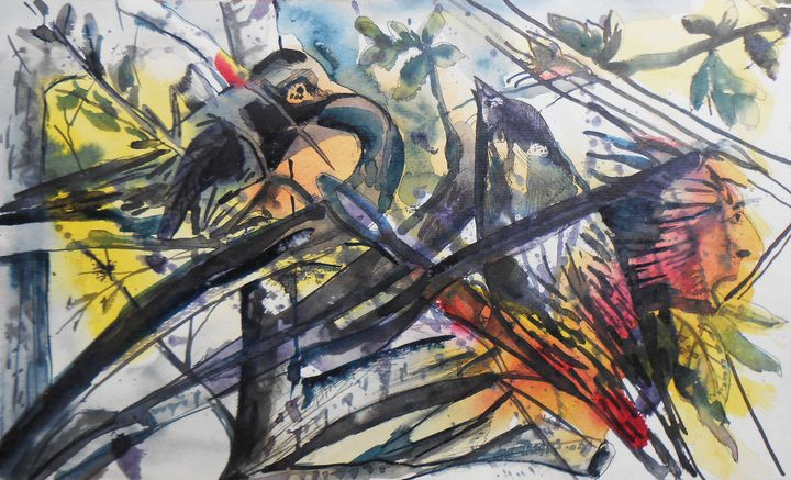 BIRDS AND BRANCE - Roy_all Art Gallery