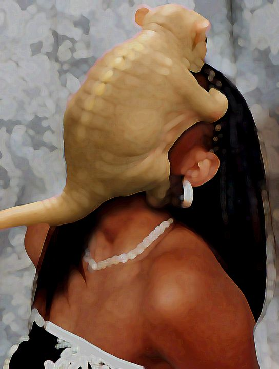 Alien Face Grabber Attacks a Woman - Third Eye Digital Artworks