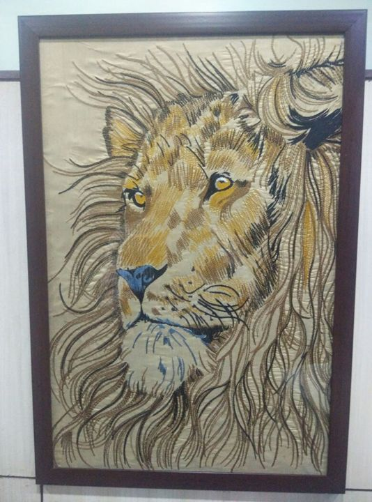 Lion Embroidery Artwork - Anand Solanki