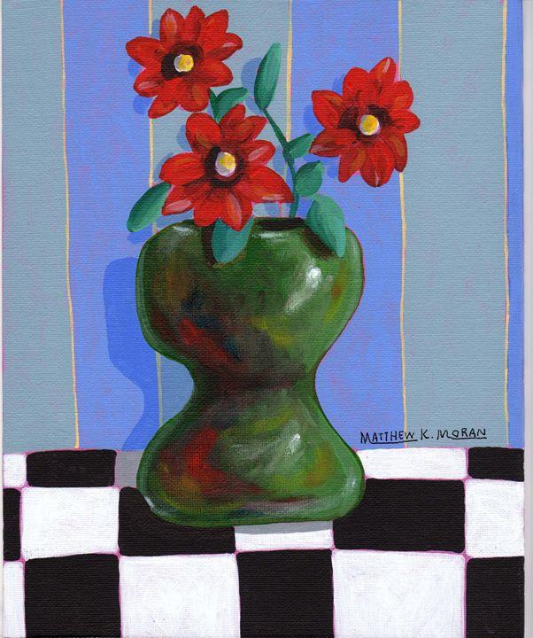 """Red Flowers in  Green Vase"" acrylic - Matthew K Moran"