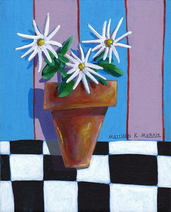 """Clay Pot with Daisies"" Acrylic - Matthew K Moran"