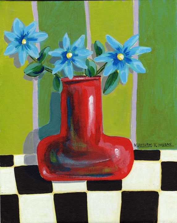 """Red Vase with Blue Flowers"" acrylic - Matthew K Moran"