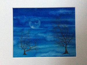 Winter trees with moon