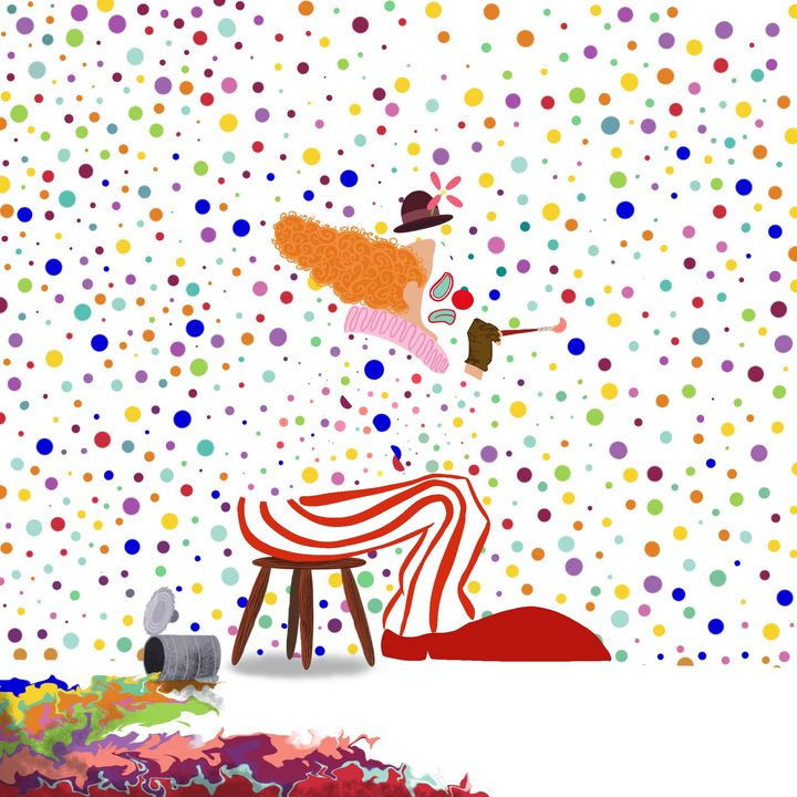Sad Painting Clown - Inks & Doodles