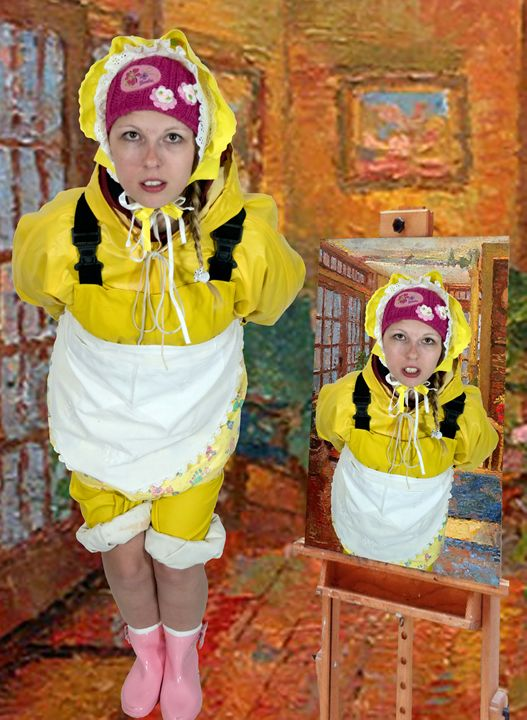 girl in yellow oilskin - maids in plastic clothes