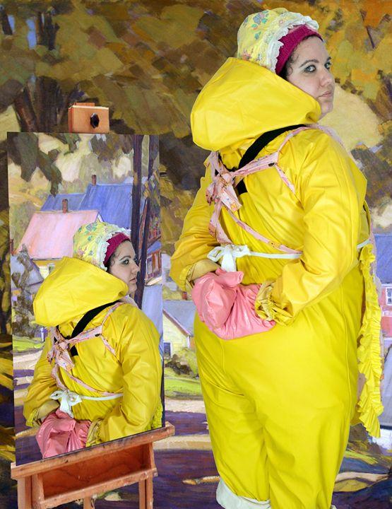 Zofe in Ölzeug und Schürze - maids in plastic clothes